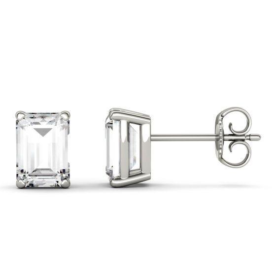 2.02 CTW DEW Emerald Forever One Moissanite Solitaire Stud Earrings 14K White Gold