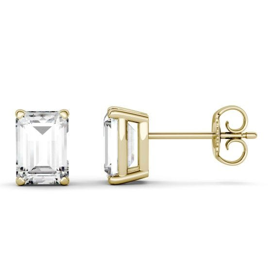 7.10 CTW DEW Emerald Forever One Moissanite Solitaire Stud Earrings 14K Yellow Gold