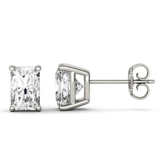 3.60 CTW DEW Radiant Forever One Moissanite Four Prong Stud Earrings 14K White Gold
