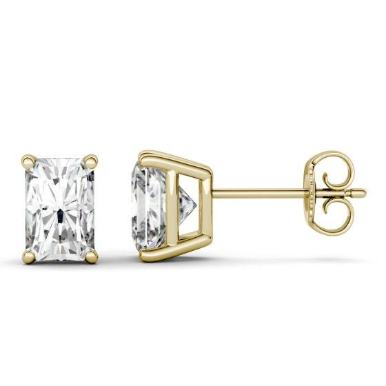 2.40 CTW DEW Radiant Forever One Moissanite Four Prong Stud Earrings 14K Yellow Gold