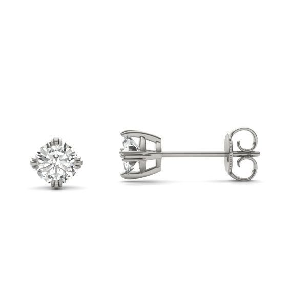 0.66 CTW DEW Round Forever One Moissanite Solitaire Stud Earrings 14K White Gold