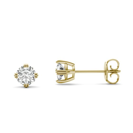 0.66 CTW DEW Round Forever One Moissanite Solitaire Stud Earrings 14K Yellow Gold