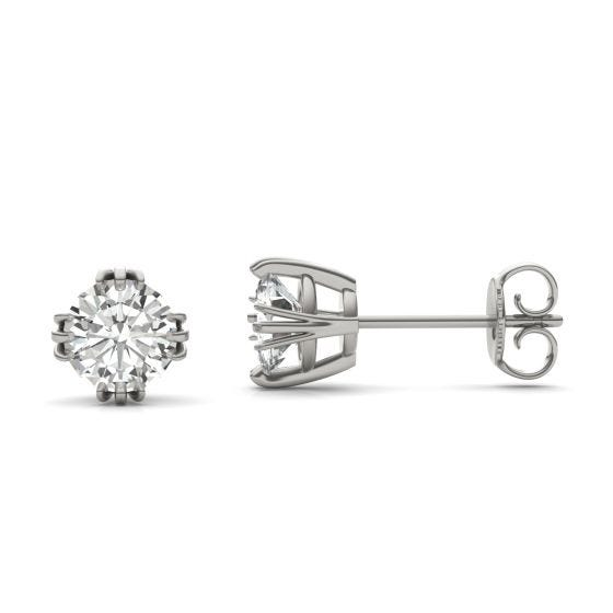 1.20 CTW DEW Round Forever One Moissanite Solitaire Stud Earrings 14K White Gold