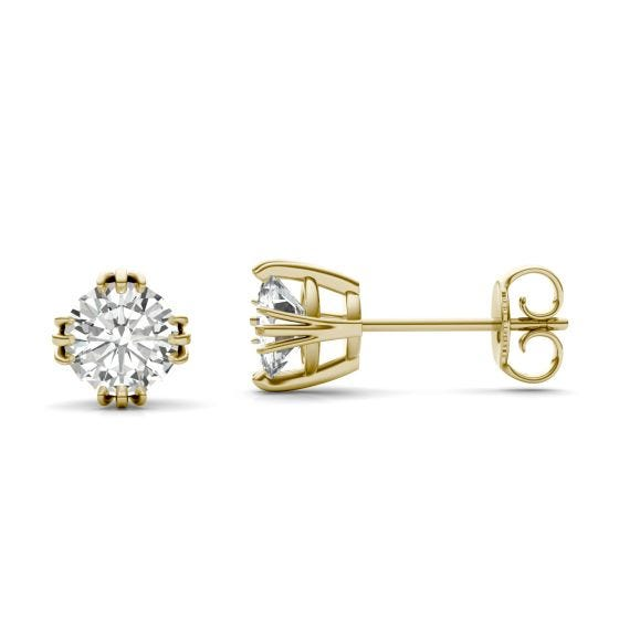 1.20 CTW DEW Round Forever One Moissanite Solitaire Stud Earrings 14K Yellow Gold