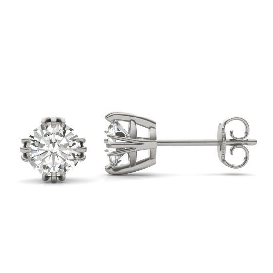 1.60 CTW DEW Round Forever One Moissanite Solitaire Stud Earrings 14K White Gold