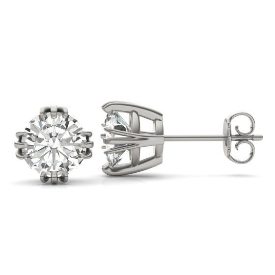 2.40 CTW DEW Round Forever One Moissanite Solitaire Stud Earrings 14K White Gold