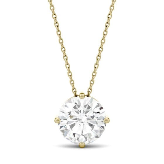 3.10 CTW DEW Round Forever One Moissanite Solitaire Stud Necklace 14K Yellow Gold