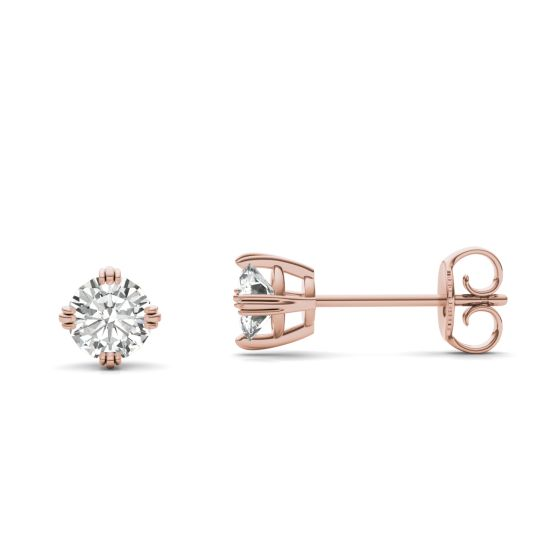 0.66 CTW DEW Round Forever One Moissanite Solitaire Stud Earrings 14K Rose Gold