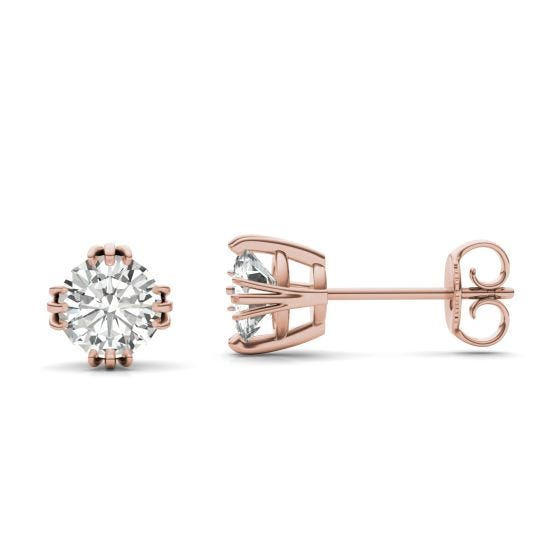 1.20 CTW DEW Round Forever One Moissanite Solitaire Stud Earrings 14K Rose Gold
