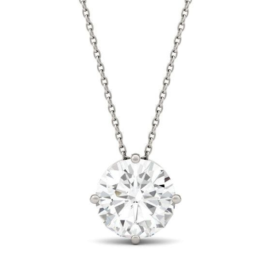 3.27 CTW DEW Round Forever One Moissanite Solitaire Pendant Necklace 14K White Gold