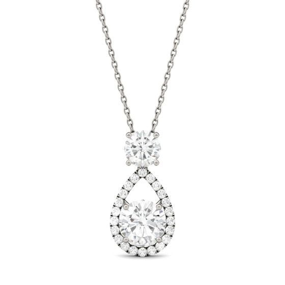 1.68 CTW DEW Round Forever One Moissanite Teardrop Halo Necklace 14K White Gold