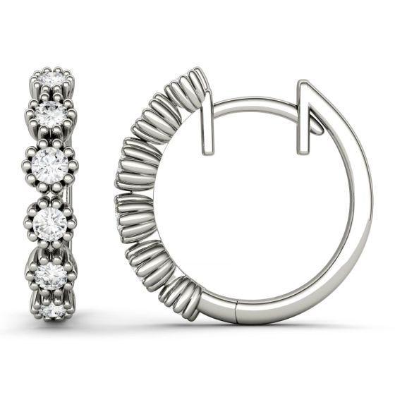 0.40 CTW DEW Round Forever One Moissanite Beaded Hoop Earrings 14K White Gold