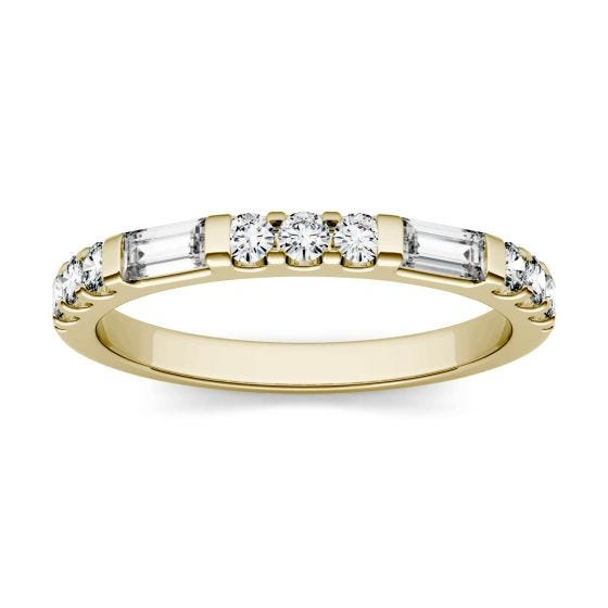 0.50 CTW DEW Straight Baguette Forever One Moissanite Multi Stone Channel Set Wedding Band Ring 14K Yellow Gold