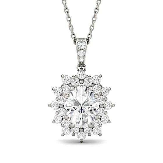 2.04 CTW DEW Oval Forever One Moissanite Floral Cluster Pendant Necklace 14K White Gold