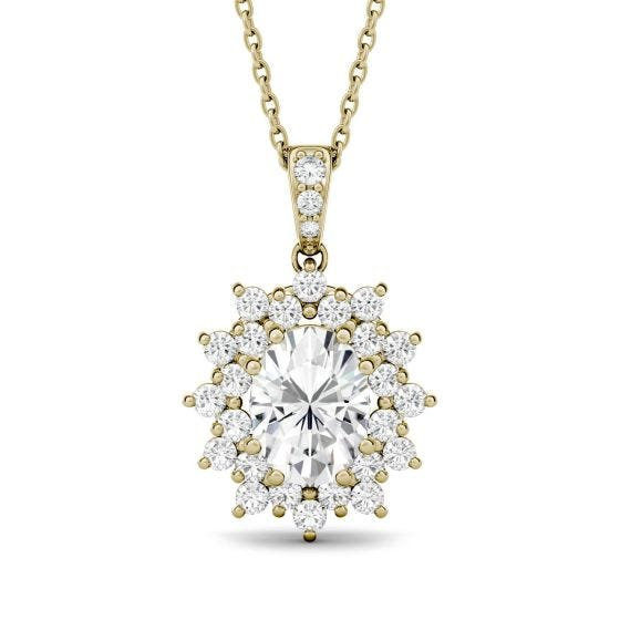 2.04 CTW DEW Oval Forever One Moissanite Floral Cluster Pendant Necklace 14K Yellow Gold
