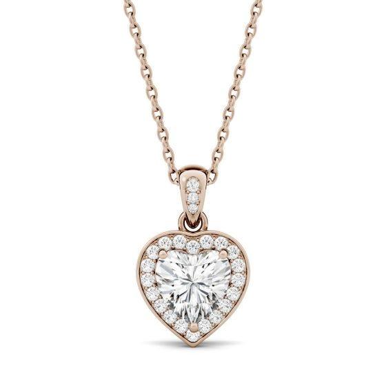 0.95 CTW DEW Heart Forever One Moissanite Bezel Set Halo Pendant Necklace 14K Rose Gold