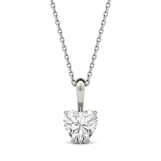 1.00 CTW DEW Heart Forever One Moissanite Solitaire Pendant Necklace 14K White Gold