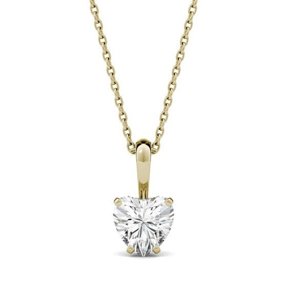 1.00 CTW DEW Heart Forever One Moissanite Solitaire Pendant Necklace 14K Yellow Gold