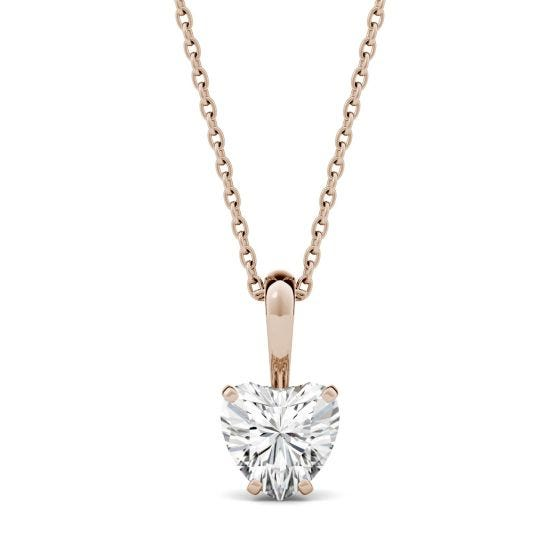 1.00 CTW DEW Heart Forever One Moissanite Solitaire Pendant Necklace 14K Rose Gold