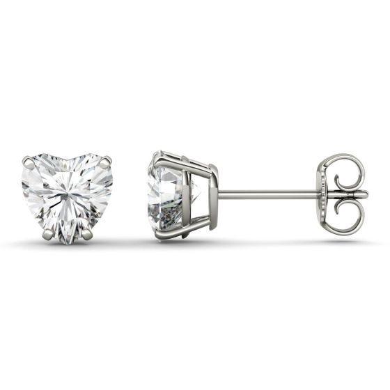 2.00 CTW DEW Heart Forever One Moissanite Solitaire Stud Earrings 14K White Gold