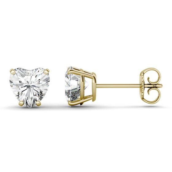 2.00 CTW DEW Heart Forever One Moissanite Solitaire Stud Earrings 14K Yellow Gold