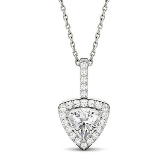 1.18 CTW DEW Trillion Forever One Moissanite Halo Pendant Necklace 14K White Gold