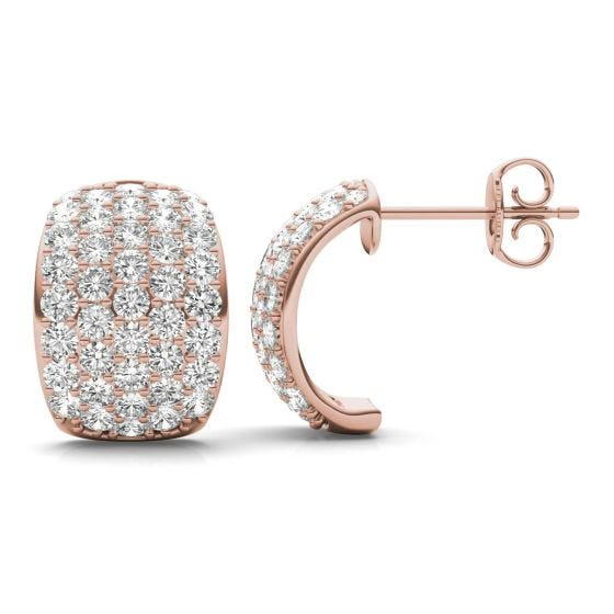 1.79 CTW DEW Round Forever One Moissanite Five Row Hoop Earrings 14K Rose Gold