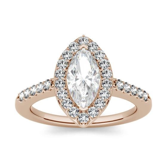 1.36 CTW DEW Marquise Forever One Moissanite Halo with Side Accents Engagement Ring 14K Rose Gold