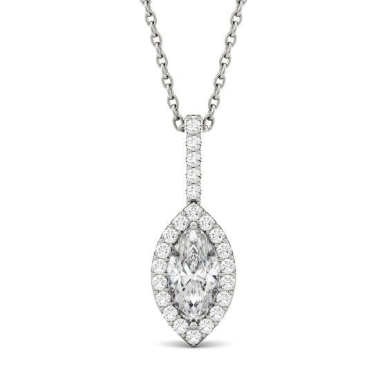 1.22 CTW DEW Marquise Forever One Moissanite Halo Pendant Necklace 14K White Gold