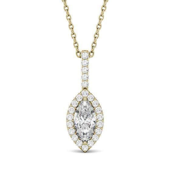 1.22 CTW DEW Marquise Forever One Moissanite Halo Pendant Necklace 14K Yellow Gold