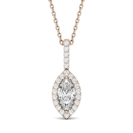 1.22 CTW DEW Marquise Forever One Moissanite Halo Pendant Necklace 14K Rose Gold