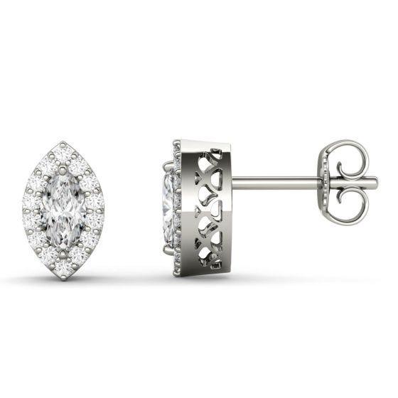 1.29 CTW DEW Marquise Forever One Moissanite Halo Stud Earrings 14K White Gold