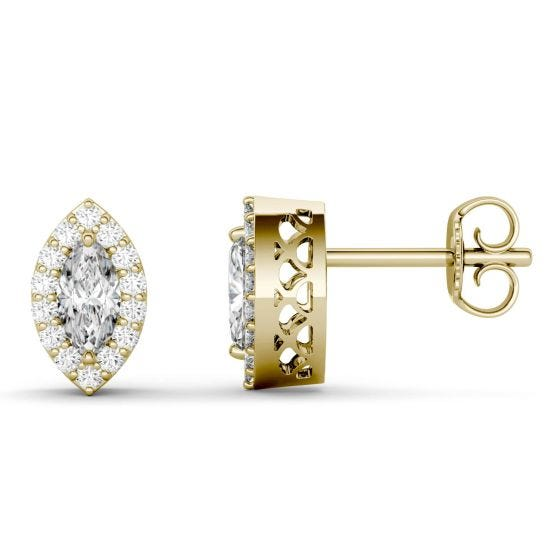 1.29 CTW DEW Marquise Forever One Moissanite Halo Stud Earrings 14K Yellow Gold