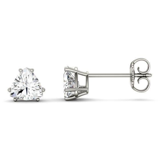 1.00 CTW DEW Trillion Forever One Moissanite Solitaire Stud Earrings 14K White Gold