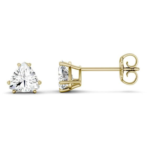 1.00 CTW DEW Trillion Forever One Moissanite Solitaire Stud Earrings 14K Yellow Gold