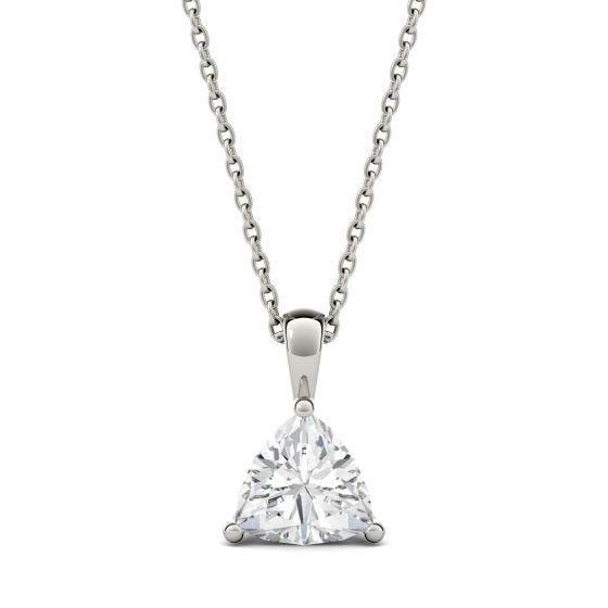 1.00 CTW DEW Trillion Forever One Moissanite Solitaire Pendant Necklace 14K White Gold