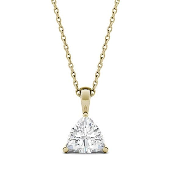 1.00 CTW DEW Trillion Forever One Moissanite Solitaire Pendant Necklace 14K Yellow Gold