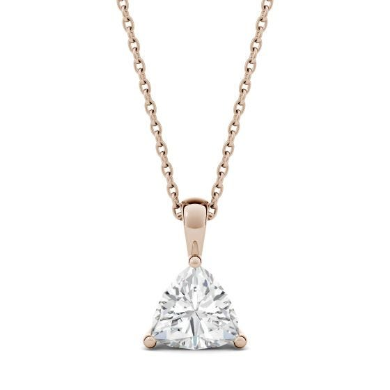 1.00 CTW DEW Trillion Forever One Moissanite Solitaire Pendant Necklace 14K Rose Gold