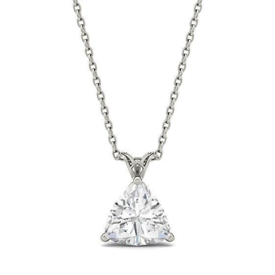1.00 CTW DEW Trillion Forever One Moissanite Floral Setting Solitaire Pendant Necklace 14K White Gold