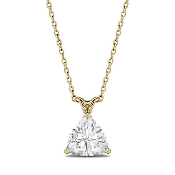 1.00 CTW DEW Trillion Forever One Moissanite Floral Setting Solitaire Pendant Necklace 14K Yellow Gold