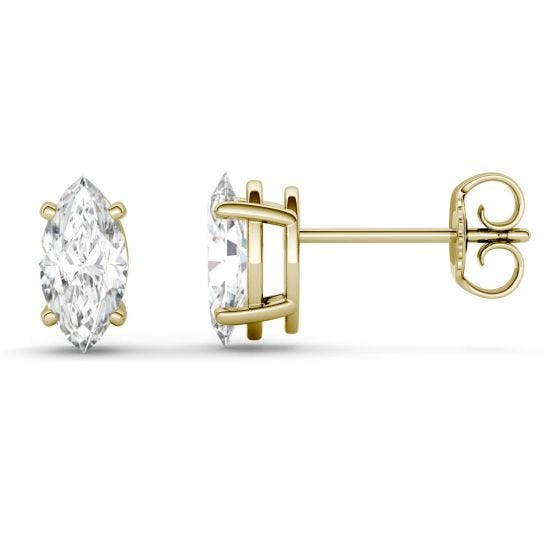 1.00 CTW DEW Marquise Forever One Moissanite Four Prong Solitaire Stud Earrings 14K Yellow Gold