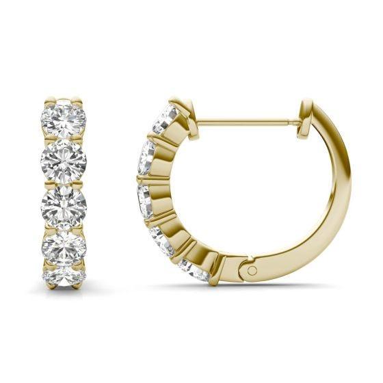 1.60 CTW DEW Round Forever One Moissanite Mini Hoop Earrings 14K Yellow Gold