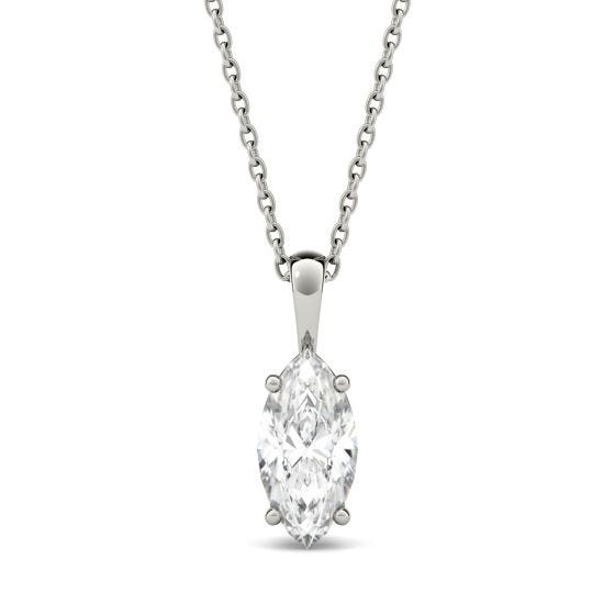1.00 CTW DEW Marquise Forever One Moissanite Solitaire Pendant Necklace 14K White Gold