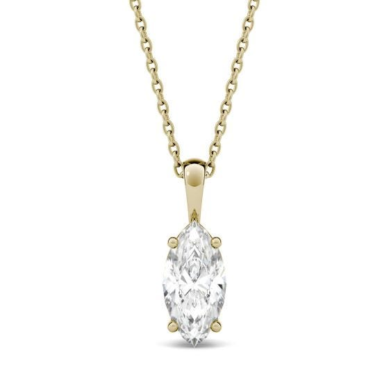 1.00 CTW DEW Marquise Forever One Moissanite Solitaire Pendant Necklace 14K Yellow Gold