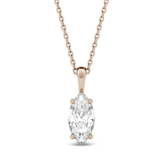 0.50 CTW DEW Marquise Forever One Moissanite Solitaire Pendant Necklace 14K Rose Gold