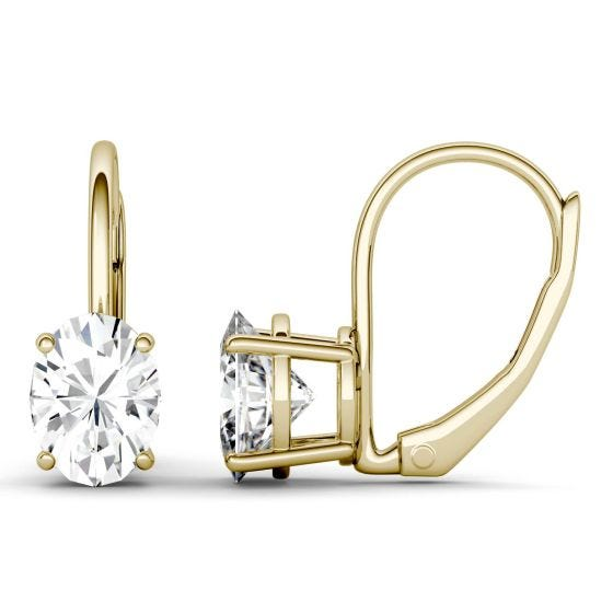1.80 CTW DEW Oval Forever One Moissanite Leverback Earrings 14K Yellow Gold
