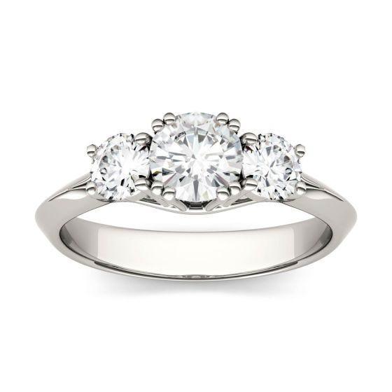 1.06 CTW DEW Round Forever One Moissanite Three Stone Engagement Ring 14K White Gold