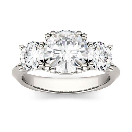 3.10 CTW DEW Round Forever One Moissanite Three Stone Engagement Ring 14K White Gold