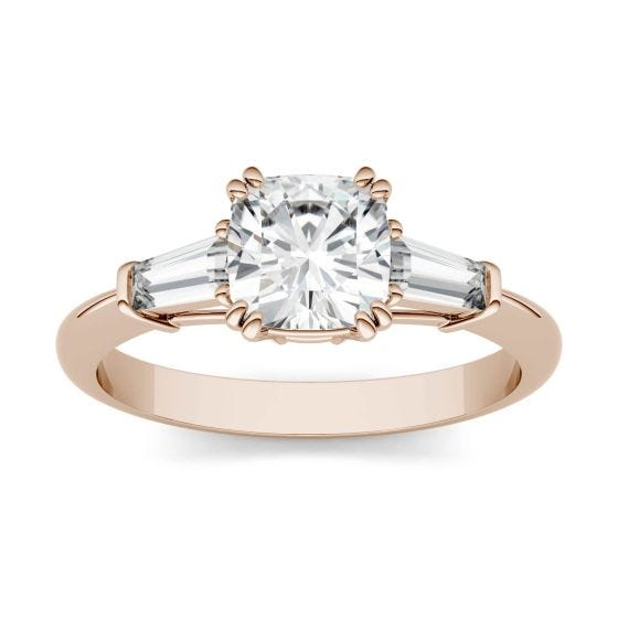 1.47 CTW DEW Cushion Forever One Moissanite Three Stone Engagement Ring 14K Rose Gold