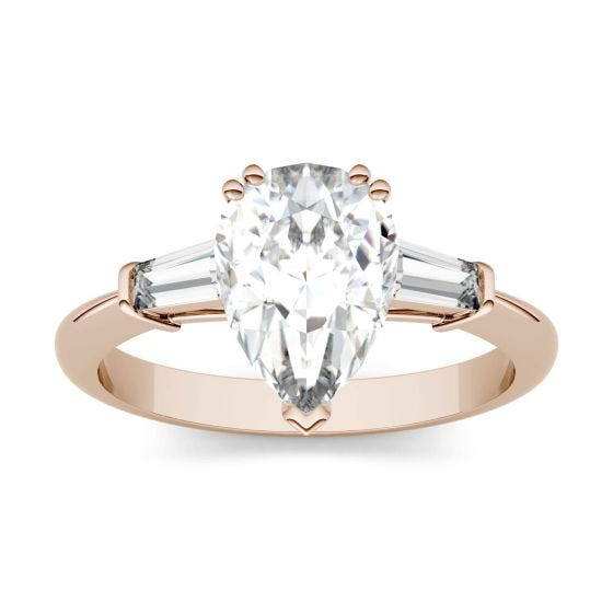 2.47 CTW DEW Pear Forever One Moissanite Three Stone Engagement Ring 14K Rose Gold